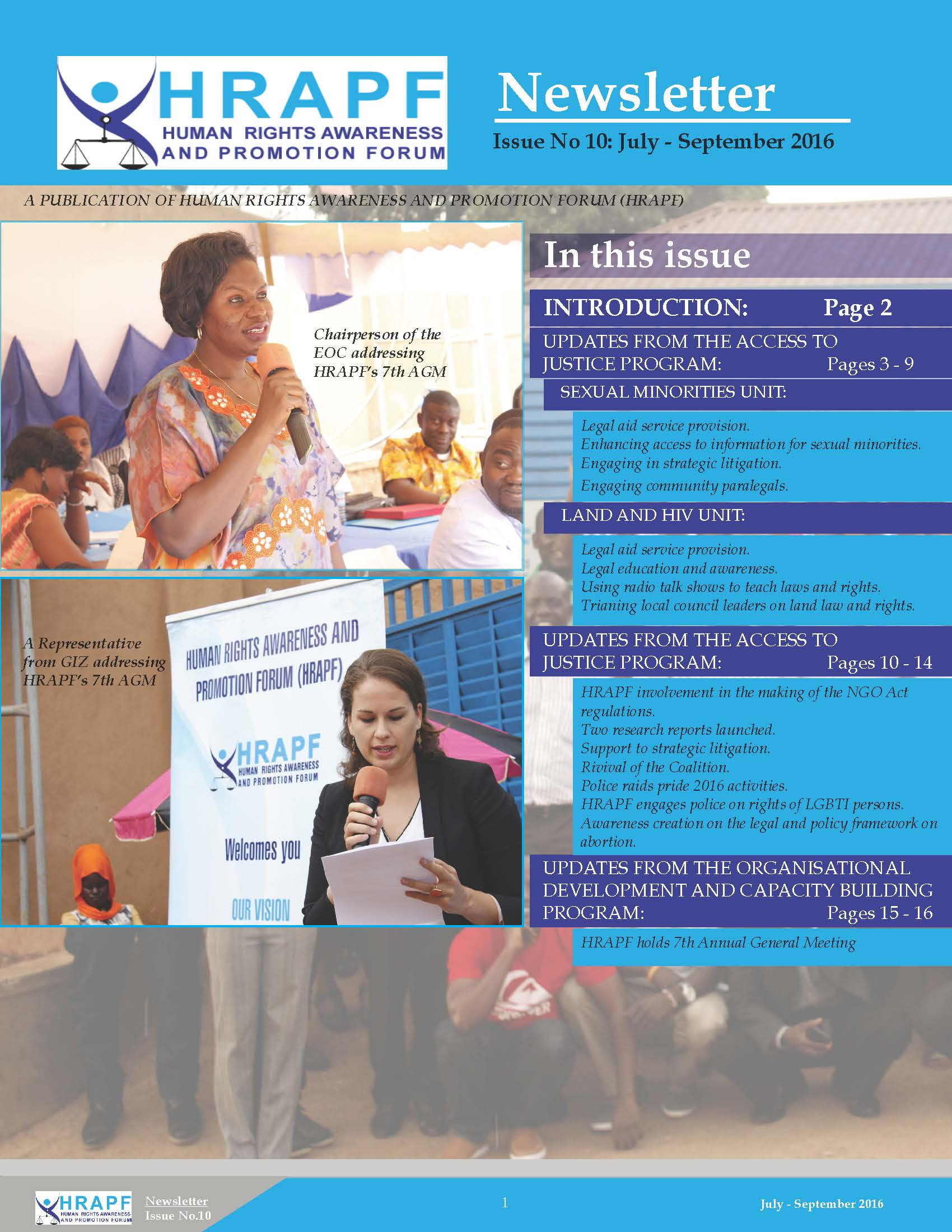 10th Issue of HRAPF Newsletter July to September 2016