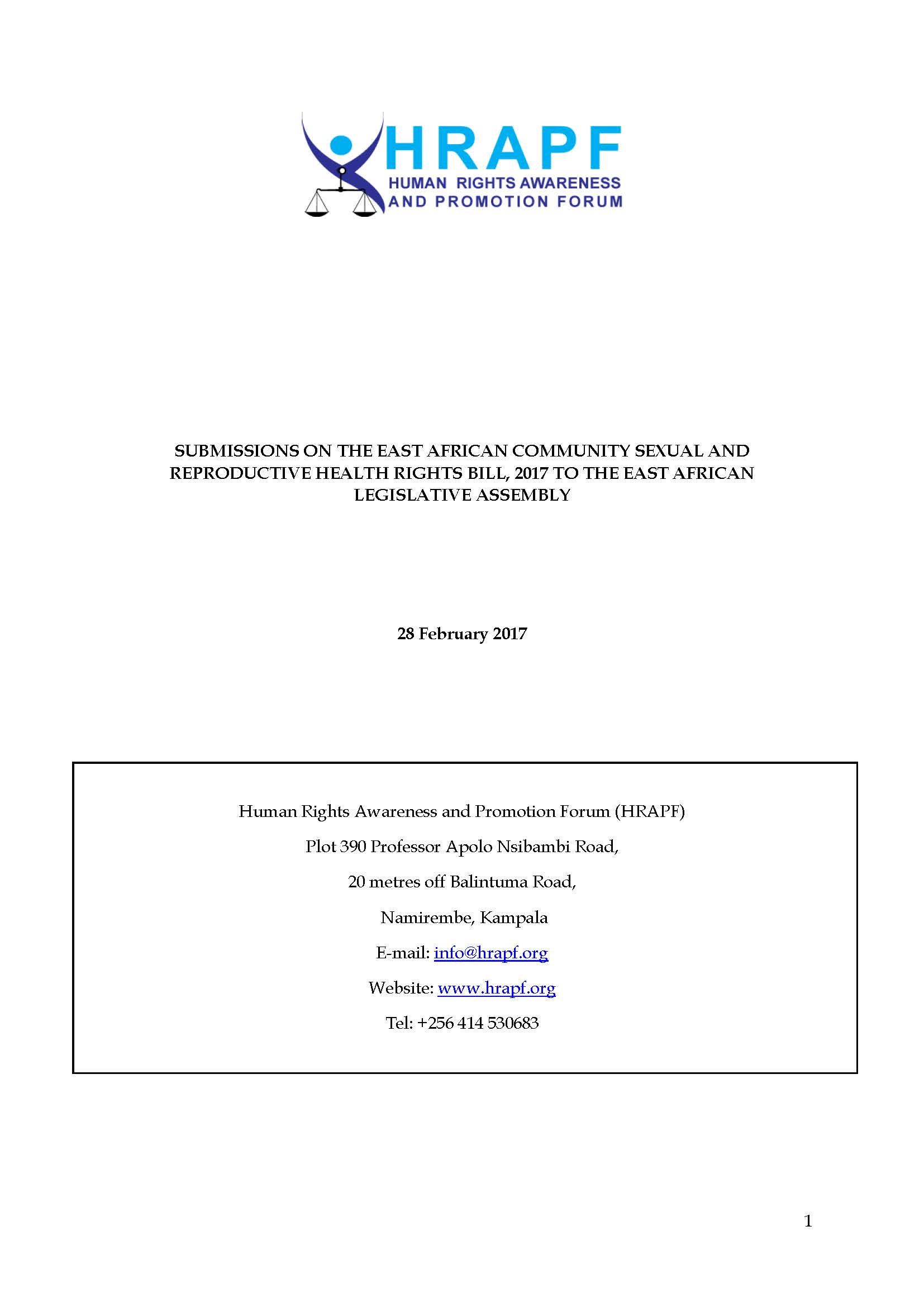 HRAPF Submissions on the EAC SRHR Bill