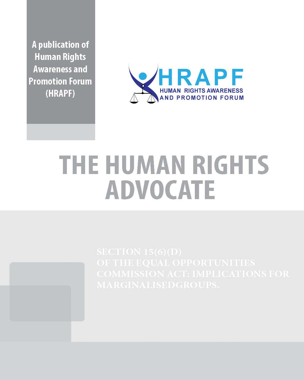 FIRST ISSUE OF THE HUMAN RIGHTS ADVOCATE