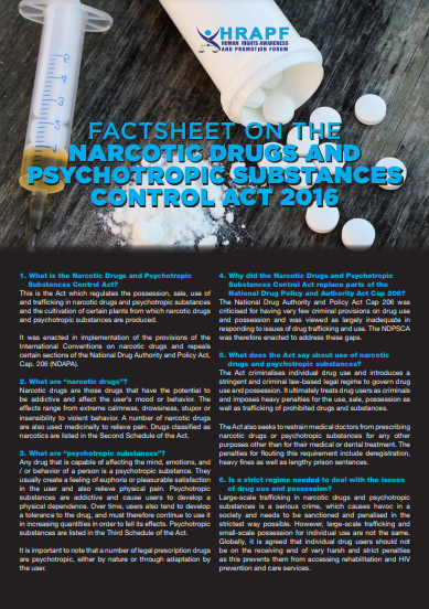 Factsheet on the Narcotic Drugs & Psychotropic Susbstances Control Act 2016