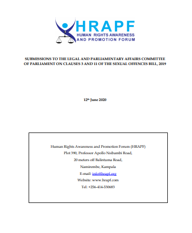 HRAPF'S SUBMISSIONS TO THE LEGAL AND PARLIAMENTARY AFFAIRS COMMITTEE OF PARLIAMENT ON CLAUSES 3 AND 11 OF THE SEXUAL OFFENCES BILL, 2019