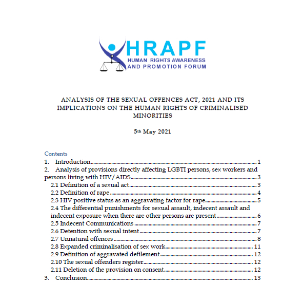 HRAPF Legal Analysis of the Sexual Offences Act 2021