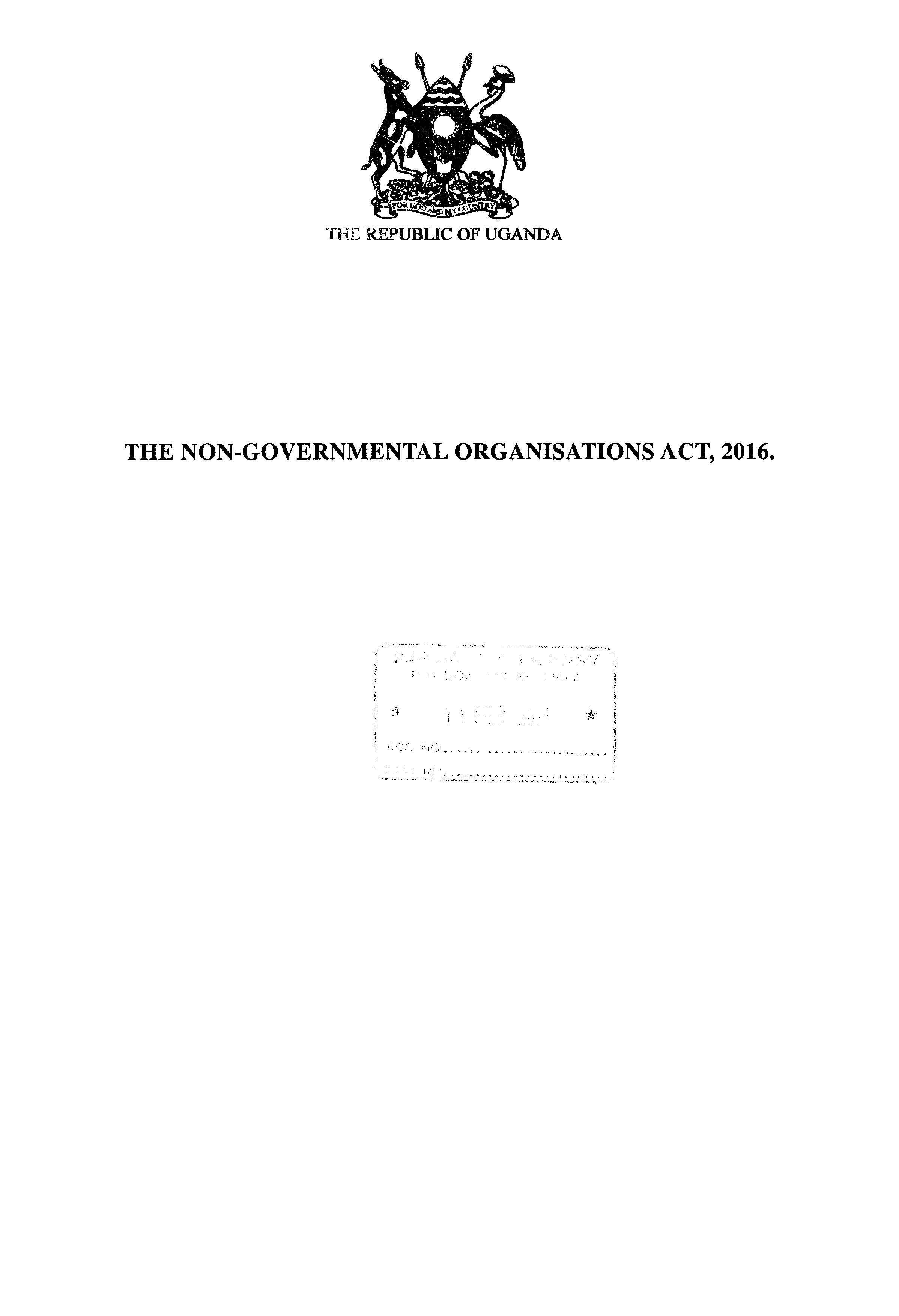 The Non Governmental Organisations Act 2016