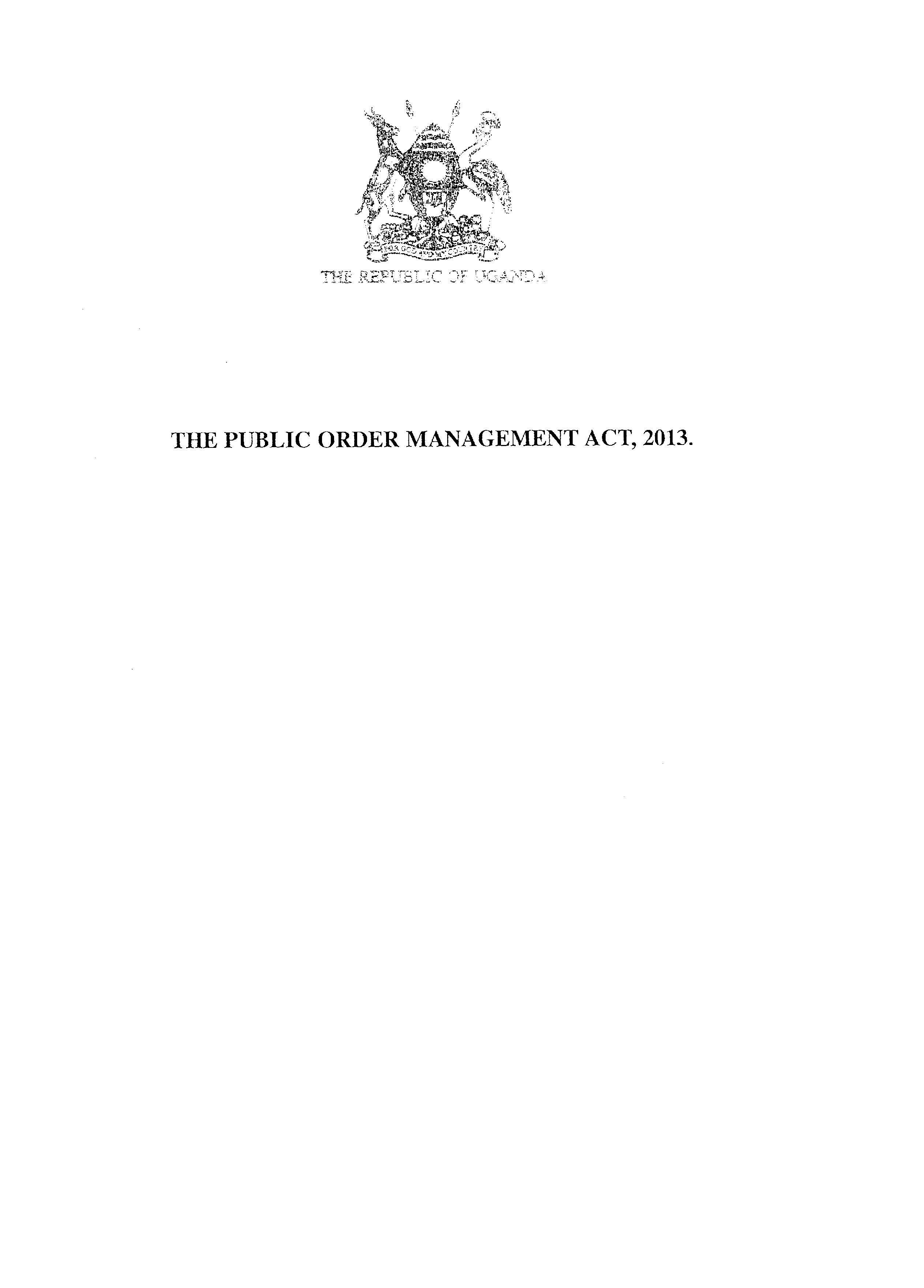 Public Order Management Act 2013