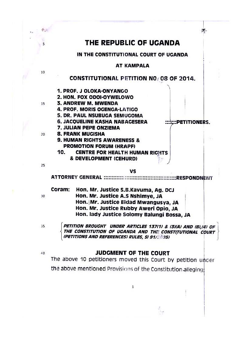 Ruling on the Anti homosexuality act
